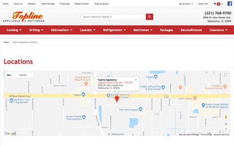 Screenshot of Contact Page Locations Page toplinesuperstore.net - Appliance in West Melbourne, Palm Bay and Indian Harbour Beach FL | Topline Appliance - captured July 10, 2018