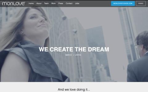 Screenshot of Home Page monlove.com - MONLOVE – We Create The Dream - captured Aug. 9, 2016