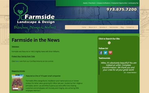 Screenshot of Press Page farmside.com - In The News - Farmside Landscape & Design - captured Oct. 5, 2014