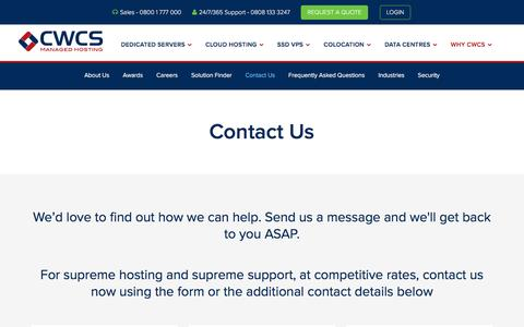 Screenshot of Contact Page cwcs.co.uk - For Supreme Managed Hosting and Supreme Support, Contact CWCS - captured Oct. 15, 2016