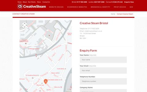 Screenshot of Contact Page creativesteambristol.co.uk - Contact Creative Steam Bristol | Orchard Street - captured Oct. 3, 2014