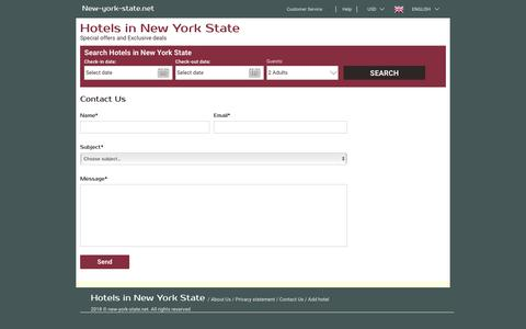 Screenshot of Contact Page new-york-state.net - New York State hotel reservation – new-york-state.net – Contact us - captured July 11, 2018