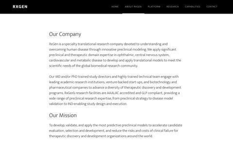 Screenshot of About Page rx-gen.com - About RxGen - captured Nov. 2, 2017