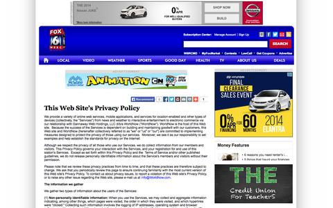 Screenshot of Privacy Page myfoxal.com - This Web Site's Privacy Policy - captured Sept. 25, 2014