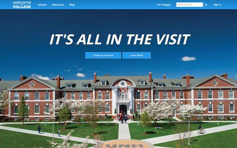 Screenshot of Home Page welcometocollege.com - Welcome to College – College Visits Optimized - captured Jan. 26, 2015