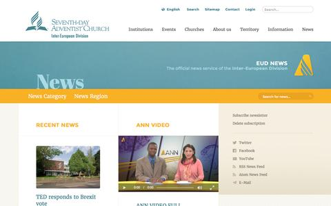 Screenshot of Press Page adventist.org - Inter-European Division News - captured June 24, 2016