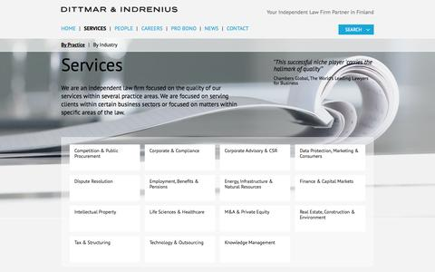 Screenshot of Services Page dittmar.fi - Dittmar & Indrenius - captured Oct. 5, 2014