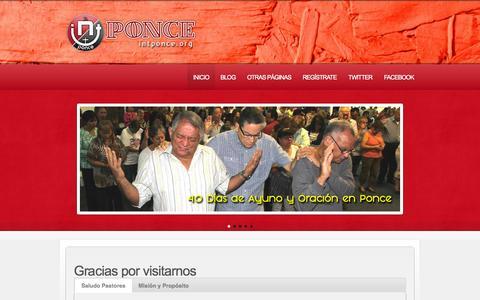 Screenshot of Home Page intponce.org - Iglesia Nuevo Testamento de Ponce  |  Iglesia Nuevo Testamento de Ponce | Una iglesia con propósito para toda la familia. Pastores Susana y Carlos Camacho. - captured Oct. 3, 2014