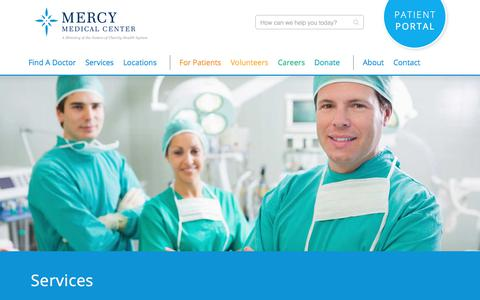 Screenshot of Services Page cantonmercy.org - Mercy Medical Center Services | Hospital Services in Canton Ohio - captured Nov. 18, 2017