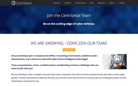 Screenshot of Jobs Page centripetalnetworks.com - Centripetal Networks - captured July 17, 2018