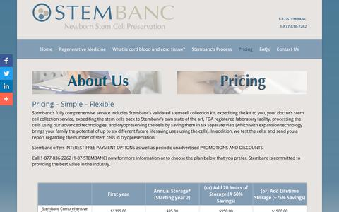 Screenshot of Pricing Page stembanc.com - Pricing - Stembanc - captured Dec. 11, 2018