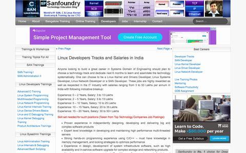Screenshot of Developers Page sanfoundry.com - Career in Linux Kernel, Driver, SAN & Network Programming | Sanfoundry - captured May 27, 2017