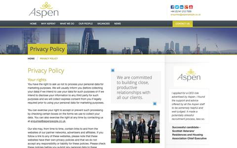 Screenshot of Privacy Page aspenpeople.co.uk - Aspen People Ltd | Privacy Policy - Aspen People Ltd - working in partnership with a broad range of private and public sector organisations helping them attract the highest calibre individuals - captured Dec. 18, 2018