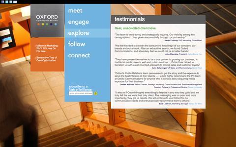 Screenshot of Testimonials Page oxfordcommunications.com - testimonials - Oxford Communications Oxford Communications - captured Oct. 9, 2014