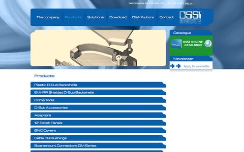 Screenshot of Products Page ossi.dk - Products   Ossi Connectors A/S - captured Oct. 26, 2014