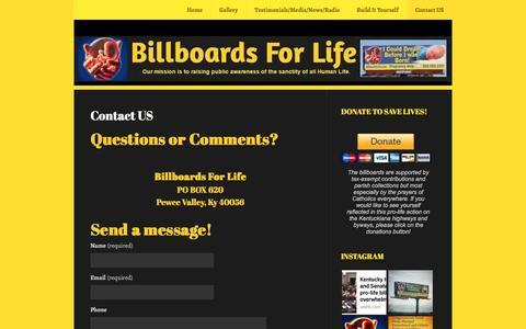Screenshot of Contact Page wordpress.com - Contact US | Billboards For Life - captured April 9, 2017