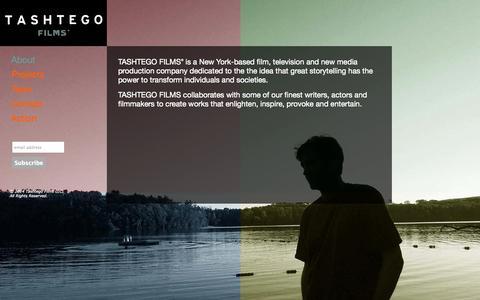 Screenshot of Home Page tashtegofilms.com - Tashtego Films - Independent Film, TV and Beyond - captured Oct. 9, 2014