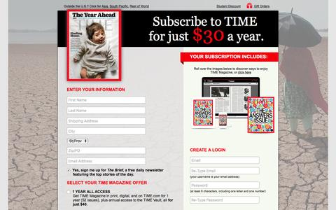 Screenshot of Landing Page time.com - TIME Magazine Subscription Offer - captured Dec. 21, 2016