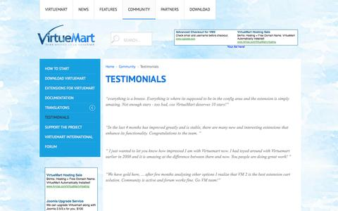 Screenshot of Testimonials Page virtuemart.net - Testimonials - captured Oct. 26, 2014