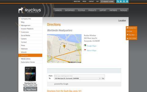 Screenshot of Maps & Directions Page ruckuswireless.com - Directions | Ruckus Wireless, Inc. - captured Sept. 17, 2014
