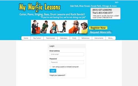 Screenshot of Login Page mymusiclessons.co - Music Lessons Oak Park IL | www.mymusiclessons.co | Log-In - captured June 14, 2017
