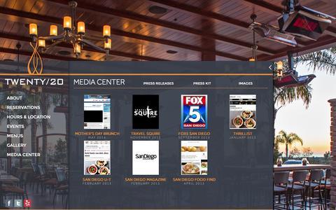 Screenshot of Press Page twenty20grill.com - Media Center | TWENTY/20 - captured Oct. 6, 2014