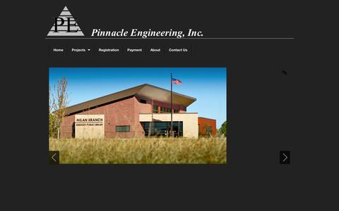 Screenshot of Home Page pinneng.com - Pinnacle Engineering - captured Oct. 2, 2014