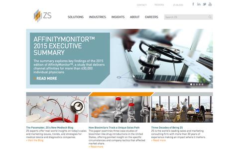 Screenshot of Home Page zsassociates.com - Sales and Marketing Consulting, Outsourcing, Technology and Software | ZS Associates - captured Dec. 2, 2015
