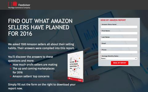 Screenshot of Landing Page feedvisor.com - State of Amazon: Report - captured March 22, 2016