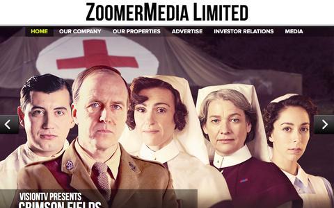 Screenshot of Home Page zoomermedia.ca - ZoomerMedia Limited -ZoomerMedia Limited - captured Feb. 13, 2016