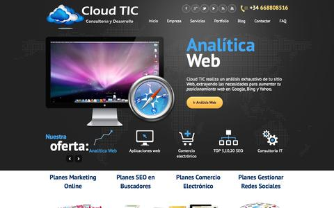 Screenshot of Home Page cloud-tic.com - Posicionamiento Web - Dise̱o Web - Marketing Online -Posicionamiento web natural РWeb Design РOnline Marketing Strategy РConsultoria IT РRedes Sociales РE-Commerce | Cloud TIC Consultoria y Desarrollo IT - captured Sept. 19, 2014