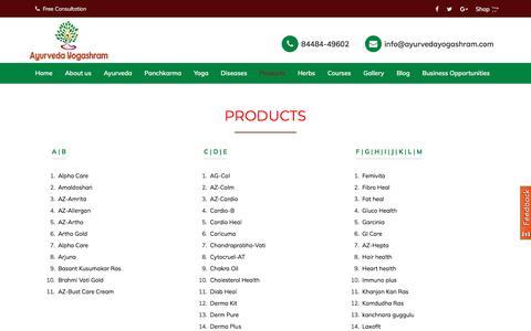 Screenshot of Products Page ayurvedayogashram.com - Ayurvedic Products | Ayurvedic Medicine - captured Feb. 9, 2020