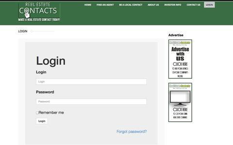 Screenshot of Login Page realestatecontacts.com - Real Estate Contacts  |  Login - captured Sept. 19, 2014