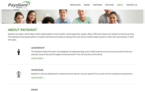 Screenshot of About Page paydiant.com - About - Paydiant, Inc. - captured Jan. 5, 2017