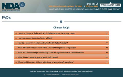 Screenshot of FAQ Page flynda.com - FAQ's | North Dallas Aviation - captured Nov. 29, 2016