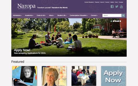 Screenshot of Home Page naropa.edu - Home          					| Naropa University, Boulder, Colorado - captured Sept. 19, 2014