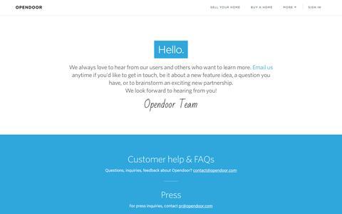 Screenshot of Contact Page opendoor.com - Opendoor | Contact us. - captured Nov. 17, 2016