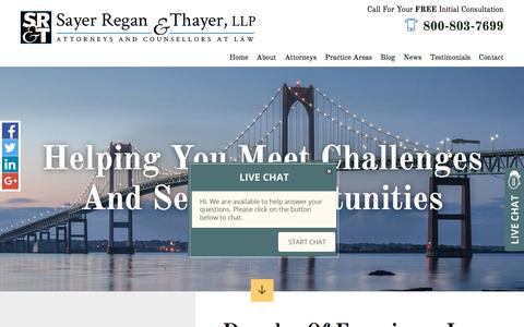 Screenshot of Home Page srtflaw.com - Newport & Wakefield RI Attorneys | Sayer Regan & Thayer, LLP - captured Oct. 5, 2017