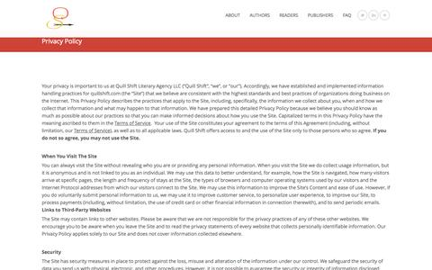 Screenshot of Privacy Page quillshift.com - Privacy Policy | Quill Shift Literary Agency - captured Oct. 3, 2014
