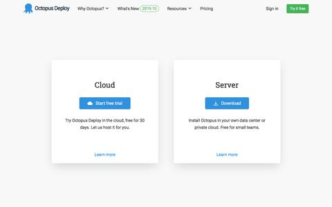 Screenshot of Trial Page octopus.com - Try Octopus Deploy free for 30 days - Octopus Deploy - captured Nov. 2, 2019