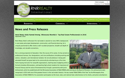 Screenshot of Press Page rnrrealty.com - RNR Realty International-News and Press Releases - captured July 6, 2017