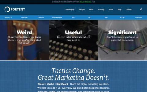 Screenshot of Home Page portent.com - Internet Marketing, SEO and PPC Agency - Portent - captured Feb. 24, 2016
