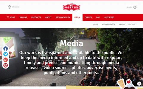 Screenshot of Press Page podravka.com - Media ♥ Podravka - captured July 20, 2018
