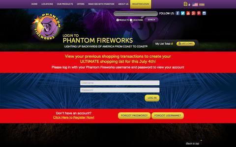 Screenshot of Login Page fireworks.com - Phantom Fireworks : My Account : Log In - captured July 17, 2017