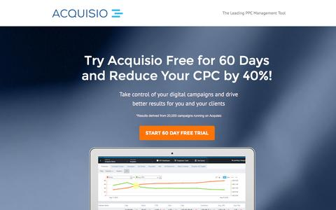 Screenshot of Landing Page acquisio.com captured Feb. 11, 2016