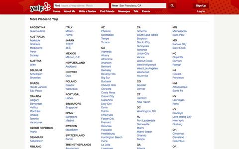 Screenshot of Locations Page yelp.com - Browse Business Reviews by City | Yelp - captured Oct. 10, 2014