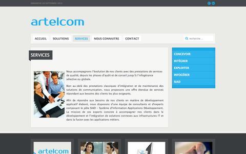 Screenshot of Services Page artelcom.fr - Artelcom - Services - captured Sept. 30, 2014