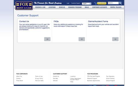 Screenshot of Support Page foxrentacar.com - Customer Support - captured Sept. 19, 2014