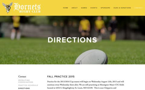 Screenshot of Maps & Directions Page stlhornetsrugby.com - Directions — St. Louis Hornets Rugby Club - captured May 27, 2016