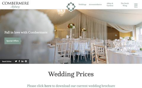 Screenshot of Pricing Page combermereabbey.co.uk - Prices of Weddings at Combermere Abbey - captured May 20, 2017